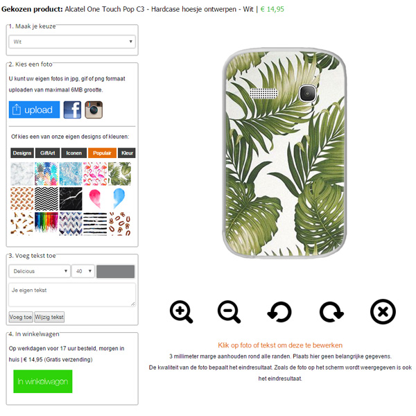 Design your own alcatel one touch pop c3 case